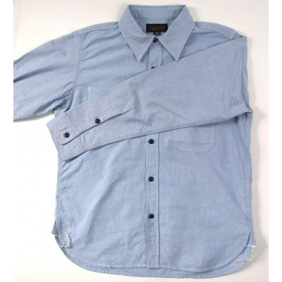 Selvedge Oxford Cotton Work Shirt - Pale Blue & White