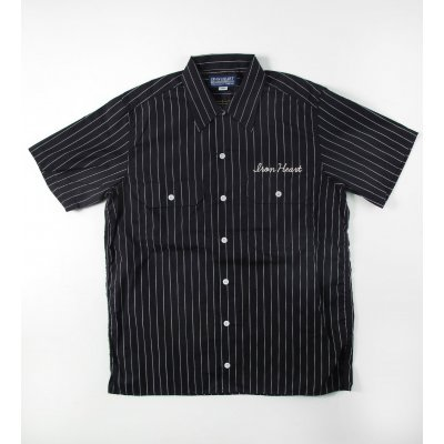 Stripy Short Sleeved Work Shirts - Black, Burgundy & Blue