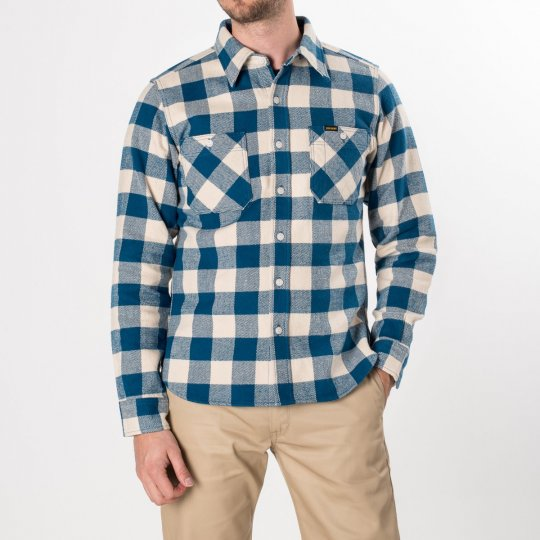 Blue/Cream Ultra Heavy Flannel Buffalo Check Work Shirt