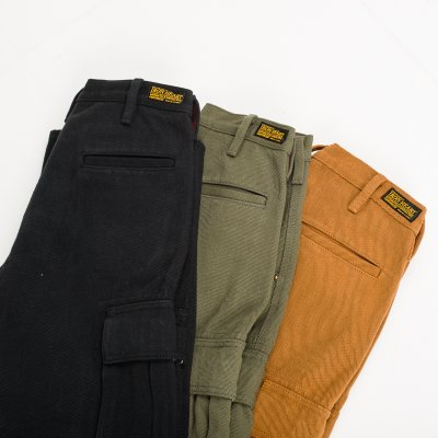 Black, Brown or Olive Ultra Heavy Selvedge Serge Cargo Pants