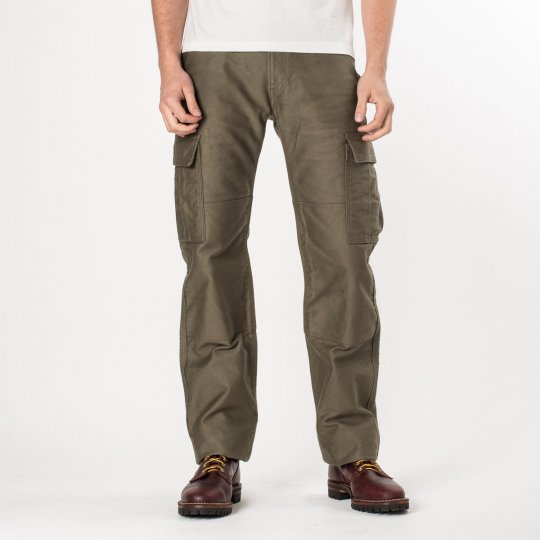 Olive Heavy Cotton Satin Cargo Pants