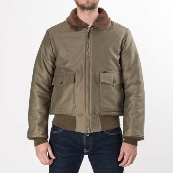 IHM-16 | Iron Heart Olive Green Cotton Satin B-10 Type Flight Jacket