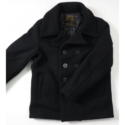 Black Melton Wool Pea Coat