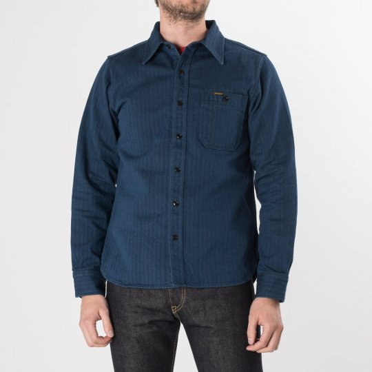 Indigo Heavy Herringbone Single Pocket Work Shirt with Tonal Stitching