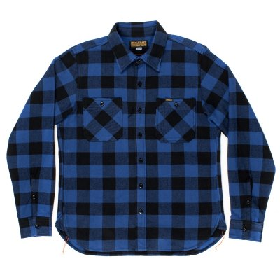 Blue/Black Ultra Heavy Flannel Buffalo Check Work Shirt
