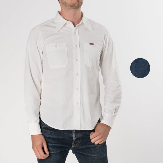 Indigo/Grey or White 7oz Selvedge Chambray Work Shirt