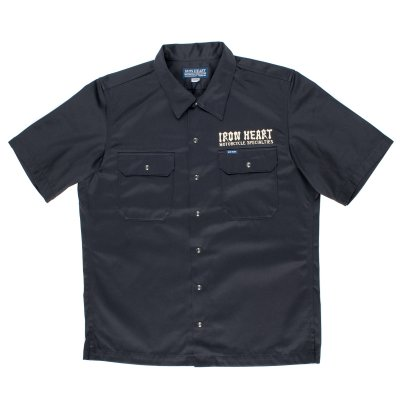 Dark Grey Short-Sleeved Printed Mechanic's Shirt
