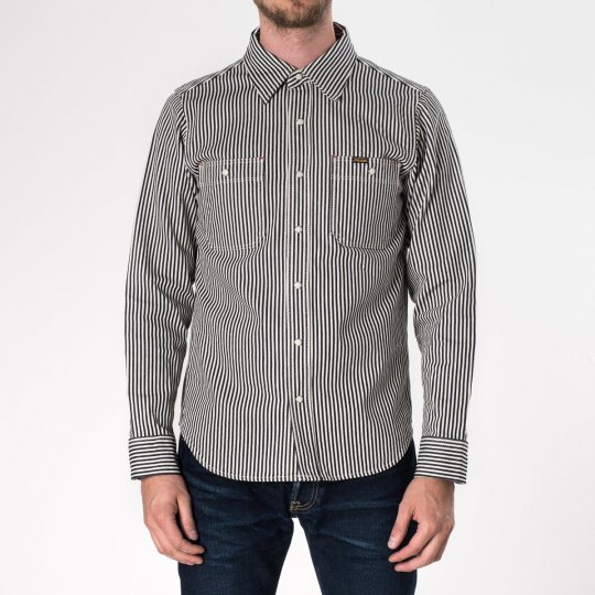 Indigo 12oz Hickory Stripe Work Shirt With Snaps