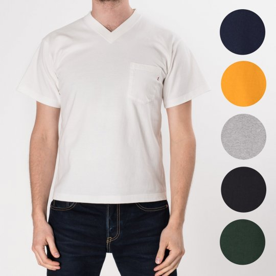7.5oz Plain V-Neck Loopwheeled Pocket T-Shirts