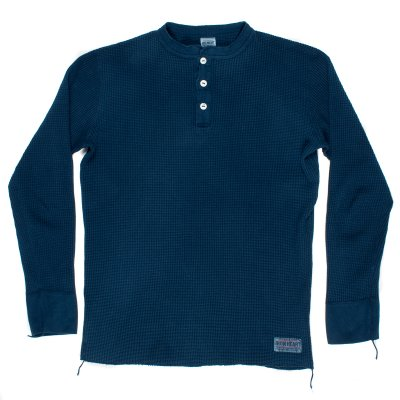 Indigo Dipped Long Sleeved Thermal Henley