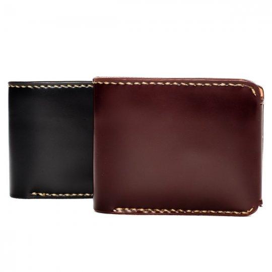 Small Shell Cordovan Wallet - Black & Oxblood