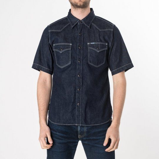 Indigo 7oz Selvedge Denim Short-Sleeved Western Shirt