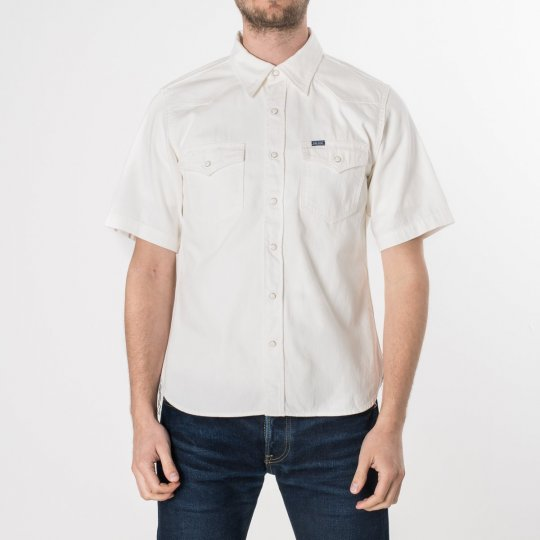 White 7oz Selvedge Denim Short-Sleeved Western Shirt