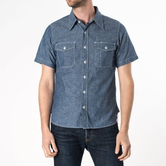 Indigo US Navy Style 5.5oz Selvedge Short Sleeved Chambray Shirt