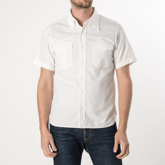 White US Navy Style 5.5oz Selvedge Short Sleeved Chambray Shirt