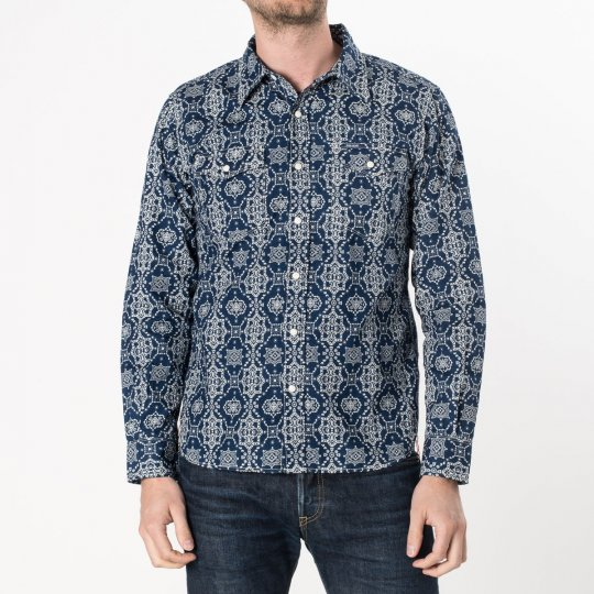 "Indigo ""Guardian Bell"" Print 5.5oz Selvedge Chambray Western"