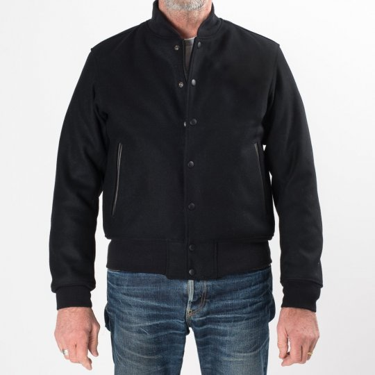 Black Selvedge Melton Wool Varsity Jacket
