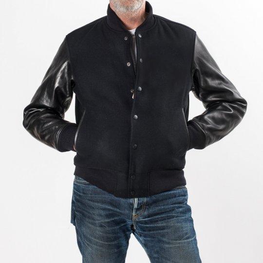 Black Selvedge Melton Wool and Horse Hide Varsity Jacket