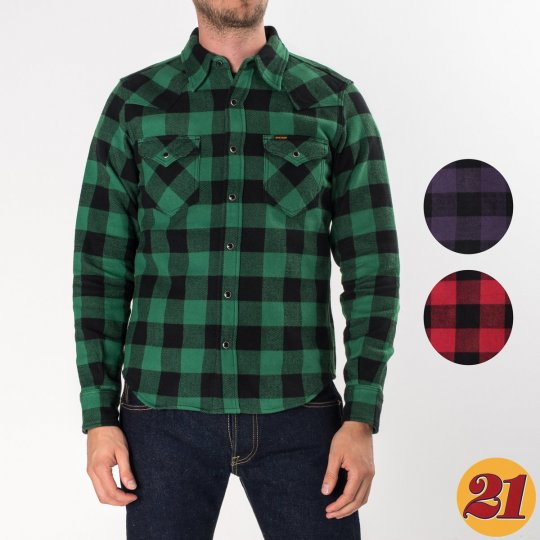 Green, Purple or Red with Black Ultra Heavy Buffalo Check Western