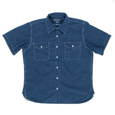 Indigo Overdyed US Navy Style 5.5oz Selvedge Short Sleeved Chambray Shirt