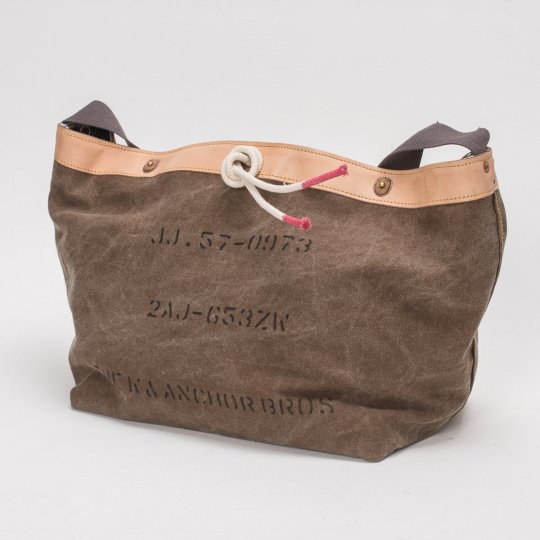 W & Anchor Khaki Canvas Messenger Bag