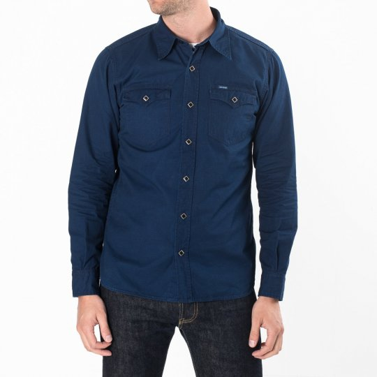 Indigo Rip Stop Single Yoke Western Shirt