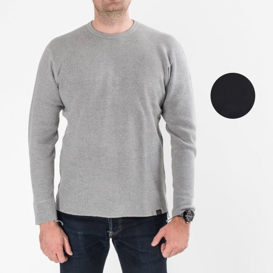 Heavy Cotton Knit Crew Neck Thermal Sweater
