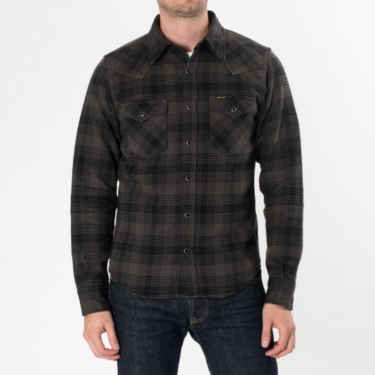 Grey/Black Ultra Heavy Flannel Glen Check Western Shirt