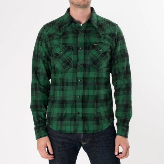 Green/Black Ultra Heavy Flannel Glen Check Western Shirt