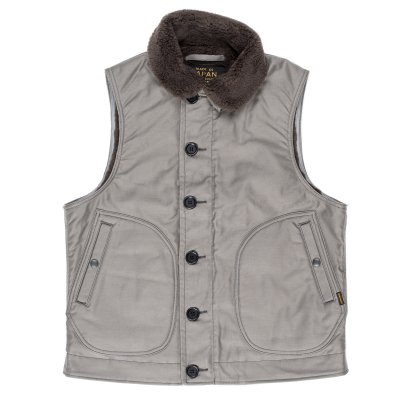 Grey, Khaki or Navy Blue Alpaca Lined Whipcord N1 Deck Vest