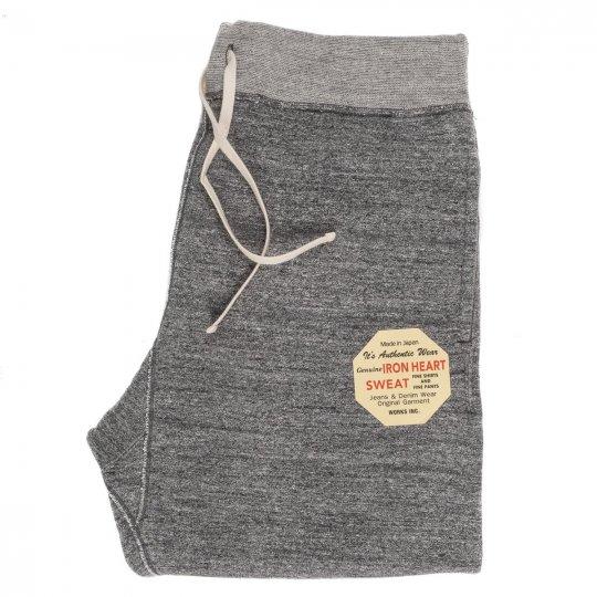 Heavy Loopwheel Fleece Lined Sweat Pants - Grey & Red Marl