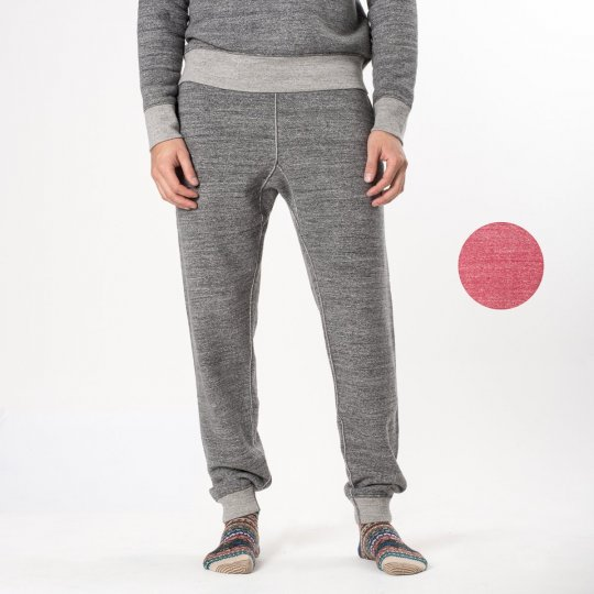 Heavy Loopwheel Fleece Lined Sweat Pants - Grey & Red Marl