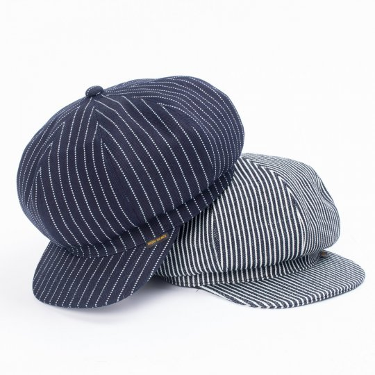 12oz Indigo Wabash or Hickory Stripe Baker Boy Cap