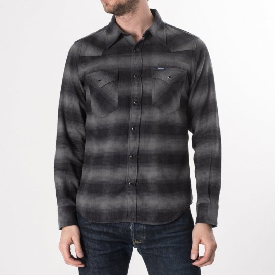 Grey/Black 6oz Check Flannel Western Shirt