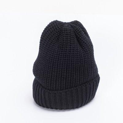 Black 100% Merino Wool Ribbed Beanie