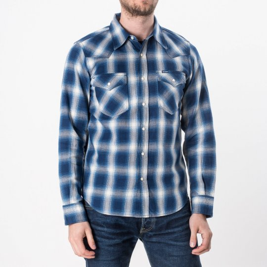 Indigo Check Flannel Western Shirt