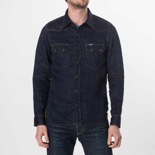 Linen Denim Sawtooth Western Shirt - Dark Indigo