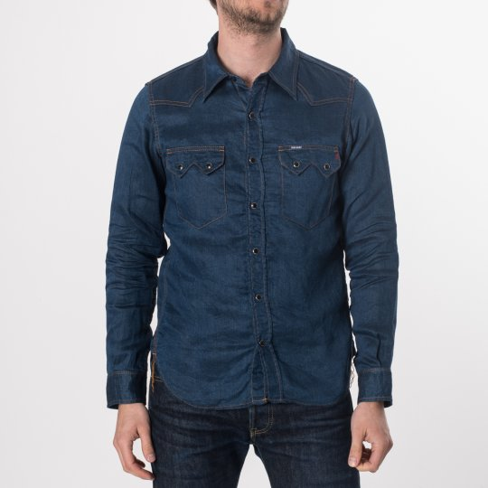Linen Denim Sawtooth Western Shirt - Light Indigo