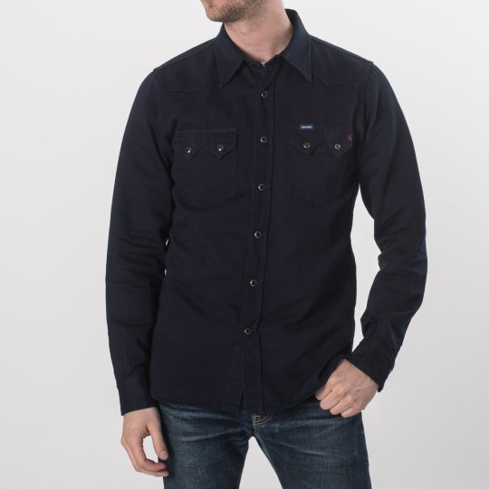 Cotton Linen Indigo Dyed Herringbone Western Shirt