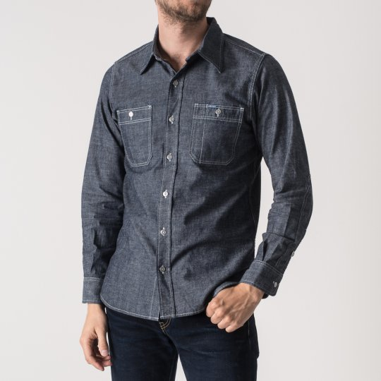 8oz Deep Indigo Chambray Double Elbow Work Shirt