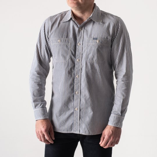 3.4oz Striped Chambray Work Shirt