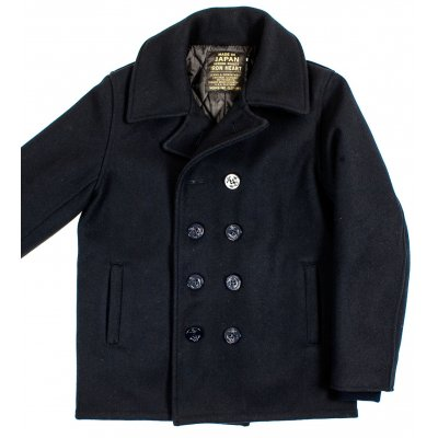 Navy Melton Wool Pea Coat