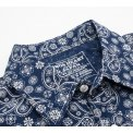 Indigo Discharge Printed Cotton Paisley Western Shirt