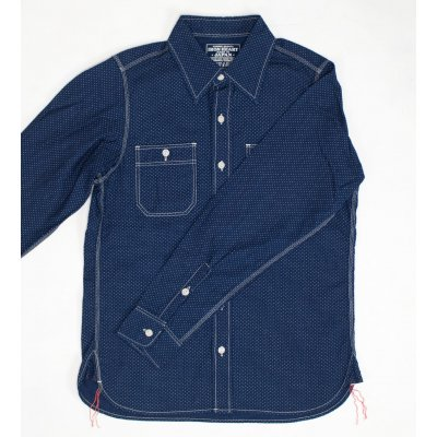 "Indigo Discharge Printed Cotton ""Dotty"" Work Shirt"